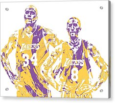 Shaquille Oneal Kobe Bryant Los Angeles Lakers Pixel Art 1 Acrylic Print