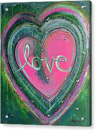 Acrylic Print featuring the painting Share My Love Heart by Laurie Maves ART
