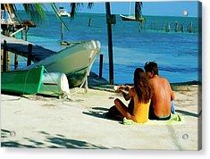 Sharing A Coconut On Caye Caulker, Belize Acrylic Print