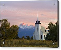 Shasta Alpenglow With Historic Church Acrylic Print