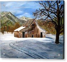 Shasta Winter Barn Acrylic Print