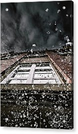 Shattering Pieces Of Glass Falling From Window Acrylic Print