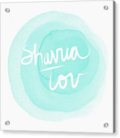 Shavua Tov Blue And White- Art By Linda Woods Acrylic Print by Linda Woods