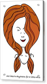 Acrylic Print featuring the drawing She Likes To Daydream For A Little While by Frank Tschakert