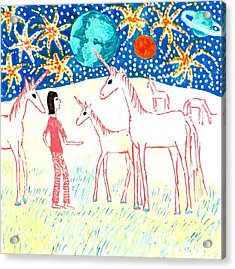 She Meets The Moon Unicorns Acrylic Print by Sushila Burgess