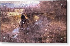 She Rides A Mustang-wrangler In The Rain II Acrylic Print