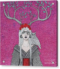 Acrylic Print featuring the mixed media She Wears The Crown by Natalie Briney