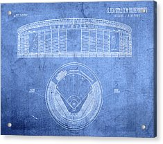 Shea Stadium New York Mets Baseball Field Blueprints Acrylic Print by Design Turnpike