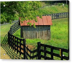 Shed And Fence Acrylic Print by Michael L Kimble
