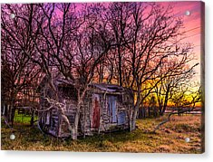 Shed And Sunset Acrylic Print by Micah Goff