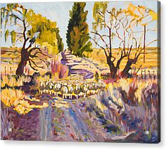 Sheep And Shepherd At Sunset Oil Painting Bertram Poole Acrylic Print by Thomas Bertram POOLE