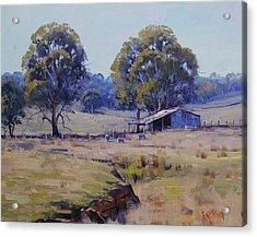 Sheep Farm Landscape Acrylic Print by Graham Gercken