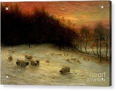 Sheep In A Winter Landscape Evening Acrylic Print by Joseph Farquharson