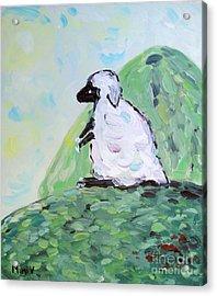 Sheep On A Hill Acrylic Print