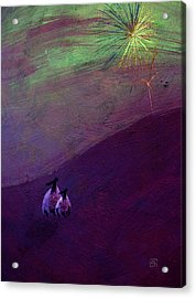 Acrylic Print featuring the digital art Sheep Watch The Fireworks  by Jean Moore