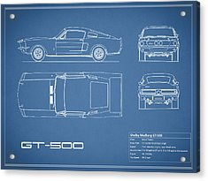 Shelby Mustang Gt500 Blueprint Acrylic Print by Mark Rogan