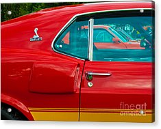 Red Shelby Mustang Side View Acrylic Print