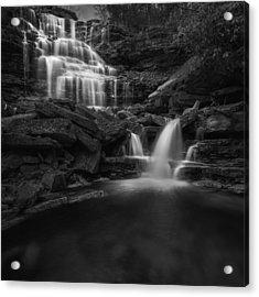 Sheldons Falls Square Black And White Acrylic Print