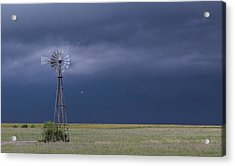 Shelf Cloud And Windmill -02 Acrylic Print by Rob Graham