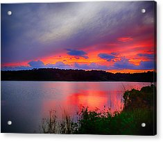 Acrylic Print featuring the photograph Shelf Cloud At Sunset by Bill Barber