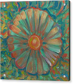 Acrylic Print featuring the painting Shell Flower by John Keaton