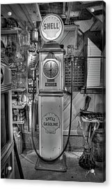 Acrylic Print featuring the photograph Shell Gas Pump by Williams-Cairns Photography LLC