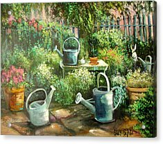 Shelley's Garden Acrylic Print by Sally Seago