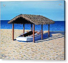 Sheltered Boat Acrylic Print by Paul Walsh