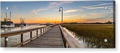 Shem Creek Pier Panoramic Acrylic Print