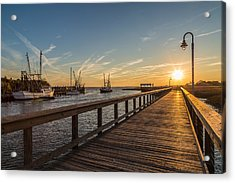 Shem Creek Pier Sunset - Mt. Pleasant Sc Acrylic Print