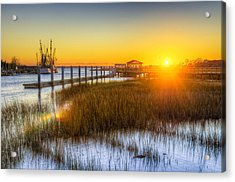 Shem Creek Sunset - Charleston Sc  Acrylic Print by Drew Castelhano