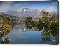 Shenandoah River South Fork - Snow On The Mountains - Virginia Acrylic Print by Brendan Reals