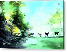 Acrylic Print featuring the painting Shepherd by Anil Nene