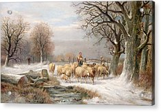 Shepherdess With Her Flock In A Winter Landscape Acrylic Print