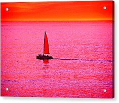 Sherbert Sunset Sail Acrylic Print by Michael Durst