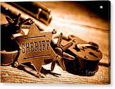 Sheriff Tools - Sepia Acrylic Print