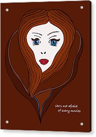 Acrylic Print featuring the drawing She's Not Afraid Of Scary Movies by Frank Tschakert