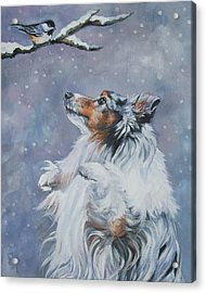 Shetland Sheepdog With Chickadee Acrylic Print
