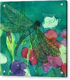 Shimmering Dragonfly W Sweetpeas Square Crop Acrylic Print