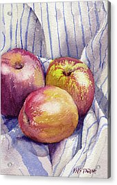 Acrylic Print featuring the painting Shine On 3 Apples by Kris Parins