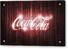Shining Coca Cola Barn Door Acrylic Print