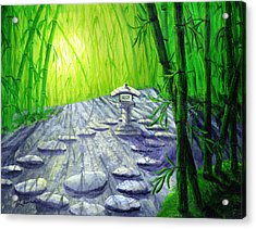 Shinto Lantern In Bamboo Forest Acrylic Print