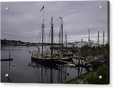 Ship At Dock. Acrylic Print by Dennis Curry