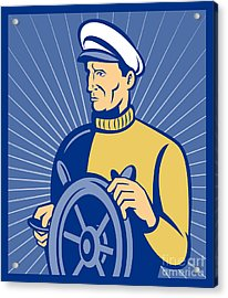 Ship Captain At The Helm  Acrylic Print by Aloysius Patrimonio