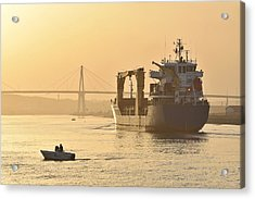Ship In Harbor Acrylic Print