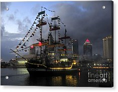 Ship In The Bay Acrylic Print by David Lee Thompson