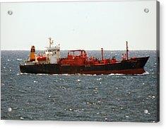 Ship Leaving Galveston Acrylic Print by Bill Perry