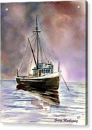 Ship Stormy Weather Acrylic Print by George Markiewicz