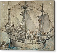 Ship With Revelling Sailors Acrylic Print