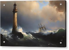 Shipping Off The Eddystone Lighthouse Acrylic Print